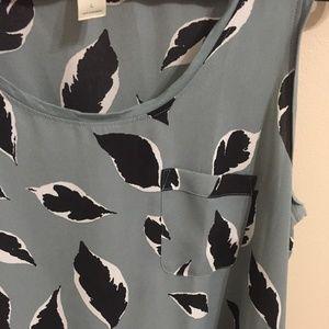 LOFT Leaf Print Teal Tank Top